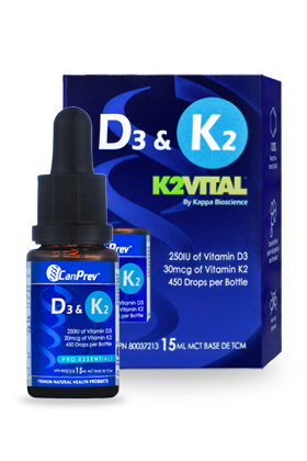CanPrev D3 & K2 drops formulated with K2Vital